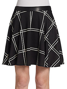 Saks Fifth Avenue RED Plaid Ponte Swing Skirt
