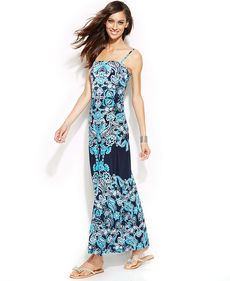 INC International Concepts Printed Bandeau Maxi Dress