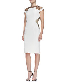 Lace-Inset Sheath Dress, Ivory   Lace-Inset Sheath Dress, Ivory