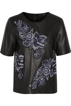 Tibi Floral-appliquéd leather and ponte top