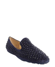 Jimmy Choo navy suede 'Wheel' jewel studded detail slip on loafers