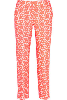 J.Crew Café embroidered cotton-blend Capri pants