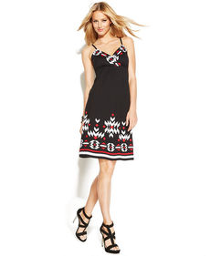 INC International Concepts Embroidered Sleeveless A-Line Dress