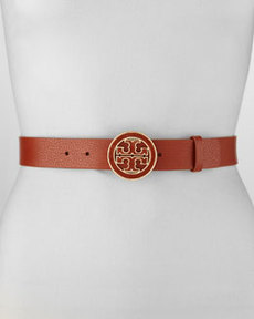 Amanda Logo-Buckle Leather Belt, Adobe   Amanda Logo-Buckle Leather Belt, Adobe