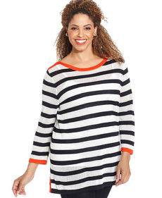 Jones New York Signature Plus Size Striped Sweater