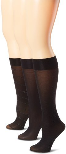 Ellen Tracy Women's 3 Pack Diagonal Lurex Trouser Socks