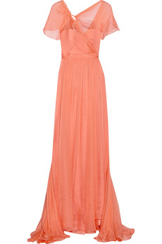 Badgley Mischka Gathered silk-chiffon gown