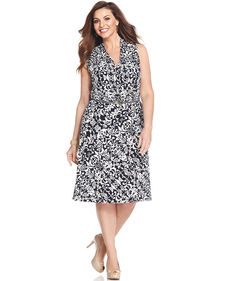 Jones New York Collection Plus Size Sleeveless Printed Faux-Wrap Dress