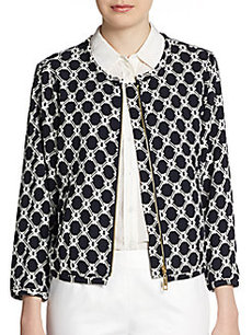 Ellen Tracy Diamond-Print Zip Jacket
