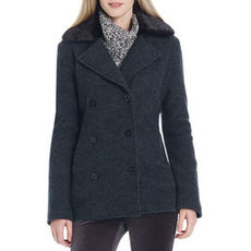 Long Sleeve Pea Coat with Faux Fur Collar