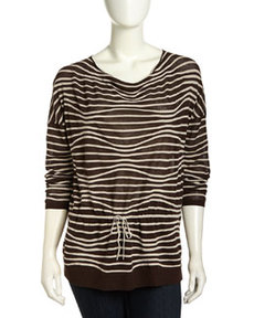 Lafayette 148 New York Ripple-Stripe Dolman Drawstring Sweater, Espresso