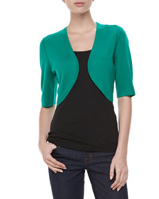 Michael Kors Featherweight Cashmere Shrug, Emerald