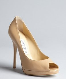 Jimmy Choo nude leather peep toe 'Queit' platform pumps