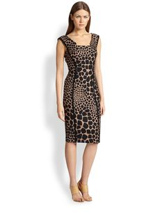 Michael Kors Giraffe Jacquard Sheath Dress