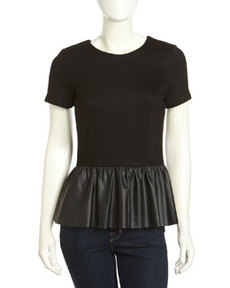 French Connection Jacinda Jersey Faux-Leather Peplum Top, Black