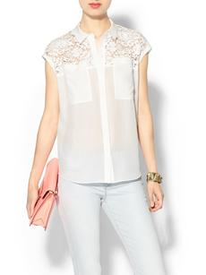 Rebecca Taylor Short Sleeve Lace Pocket Top
