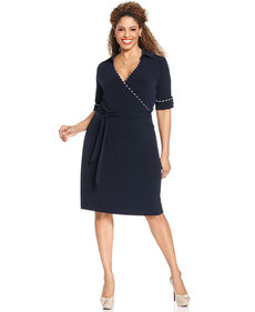 Jones New York Collection Plus Size Elbow-Sleeve Faux-Wrap Dress
