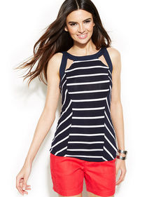 INC International Concepts Striped Cutout Halter Top