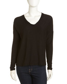 James Perse Scoop-Neck Boxy Tee, Black