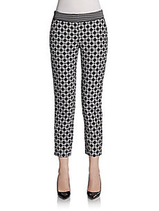 Saks Fifth Avenue BLACK Geometric Tile Skinny Pants