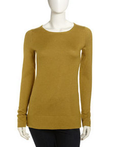 Isda & Co Split-Hem Pullover Sweater, Chartreuse