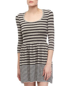 French Connection Striped Long-Sleeve Dress, Gray/Black/White