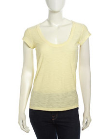 James Perse Cap-Sleeve Slub Knit Tee, Oz