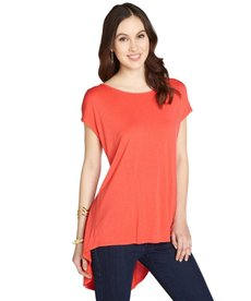 Three Dots mango stretch draped back short sleeve tunic