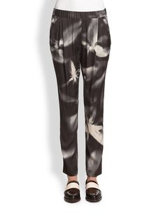 3.1 Phillip Lim Stretch Silk Flyaway-Print Track Pants