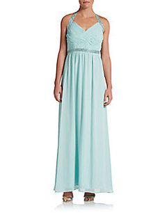 Calvin Klein Beaded Halter Gown