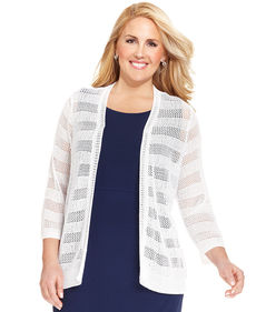 Charter Club Plus Size Three-Quarter-Sleeve Open-Knit Cardigan