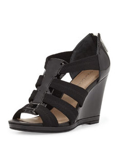 Donald J Pliner Helli Patent/Stretch Mesh Wedge Sandal, Black