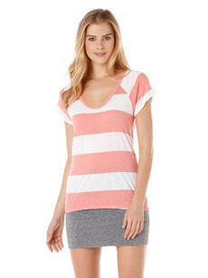 short sleeve stripe raglan slub tee