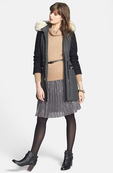 Laundry by Shelli Segal Coat, Halogen® Cashmere Turtleneck & Pleat Dress