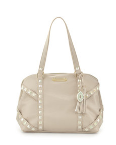 Betsey Johnson Iridescent Studded Dome Satchel Bag, Cream