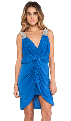 T-Bags LosAngeles Asymmetric Hem Knot Front Dress in Blue