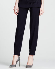 Escada Wool Stretch Ankle Pants, Blue