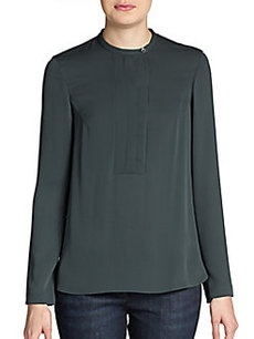Brunello Cucinelli Silk-Georgette Pleated Blouse