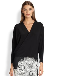 Etro Silk Faux Wrap Blouse