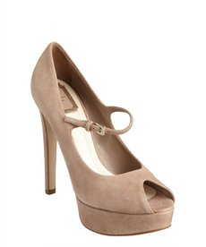 Christian Dior blush suede peep toe 'Miss Dior' platform pumps