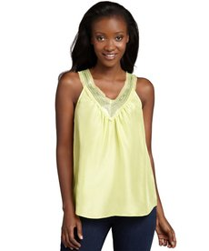 Rebecca Taylor lime silk sleeveless sequin v-neck top
