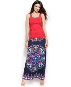 INC International Concepts Rhinestone-Embellished Printed Maxi Skirt