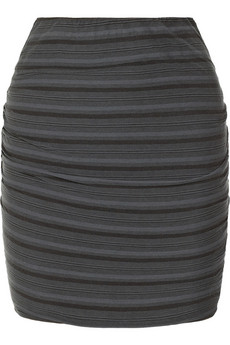 James Perse Striped ruched jersey skirt