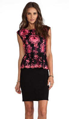 Alice + Olivia Shovan Lace Detail Peplum Dress in Black