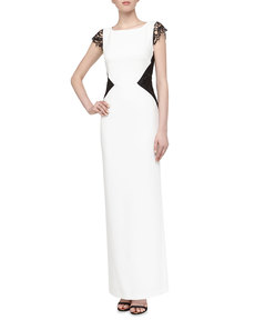 Laundry by Shelli Segal Sleeveless Lace-Cutout Satin Gown, Warm White Multi
