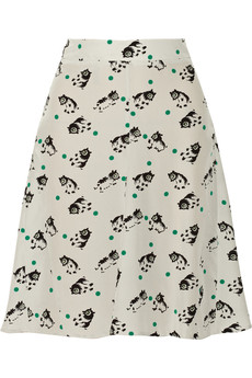Marni Printed silk crepe de chine skirt