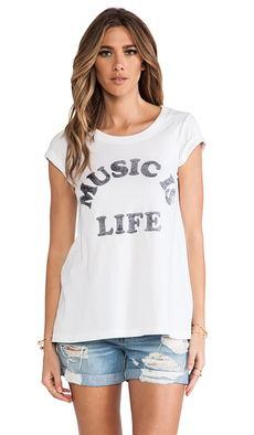 "Rebel Yell x REVOLVE ""Music is Life"" Classic Crew Tee in White"