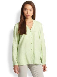 Eileen Fisher Linen Oversized Button-Down Shirt
