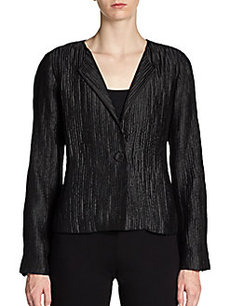 Eileen Fisher Textured Silk Convertible-Collar Jacket