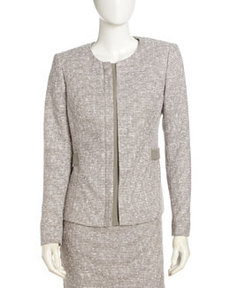 Lafayette 148 New York Tweed Front-Placket Suit Jacket, Mica Multi